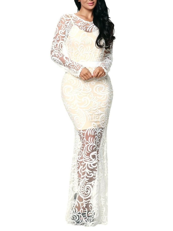 White Lace Embroidered Maxi Dress