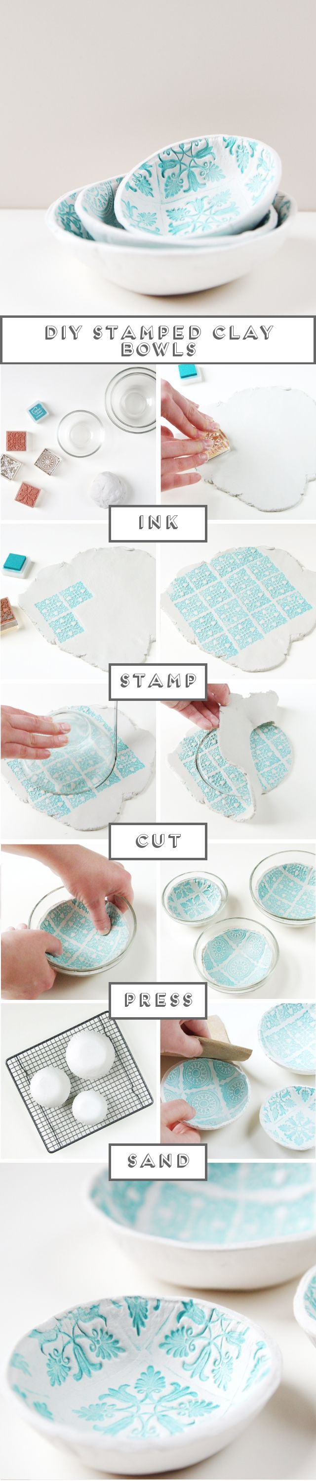 Make your own Diy Stamped Clay Bowls using these easy steps.