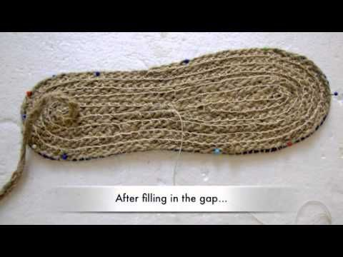 Making Shoe Soles Part 1b: Making a heel on braided soles - YouTube
