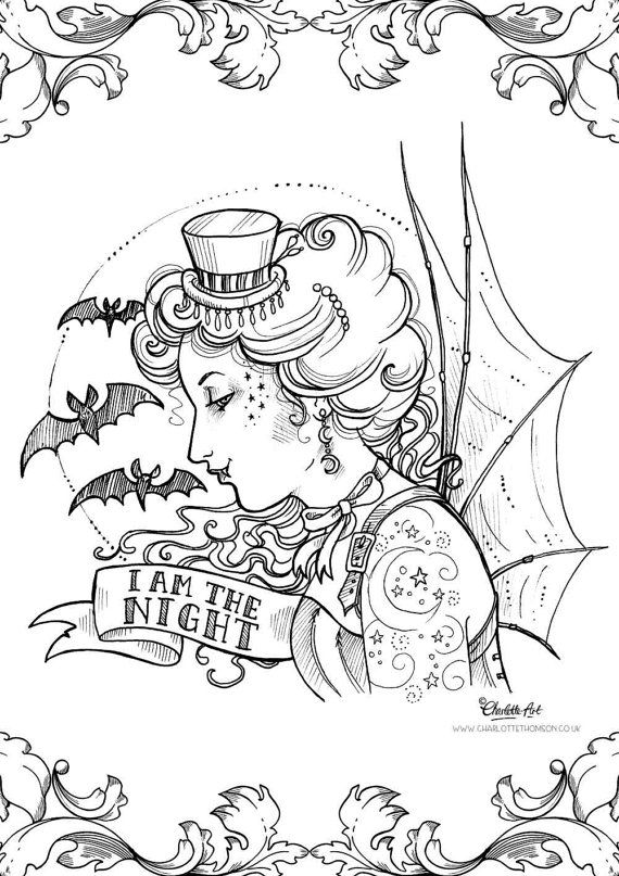 Adult Colouring Page Steampunk Gothic Victorian Vampire Halloween Art Nouveau Pin Up Lady Instant