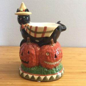 Yankee Candle Tart Burner Warmer Pumpkin Halloween Spooky Black Cat Teresa Kogut  | eBay