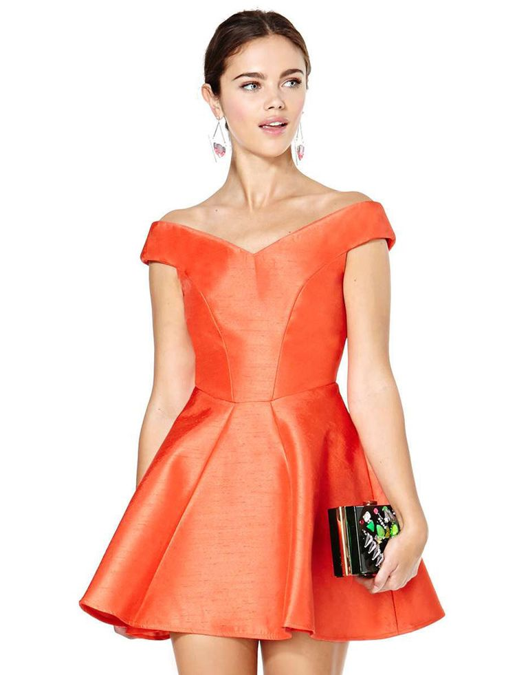 Orange Off the Shoulder Flare Dress | Persunmall