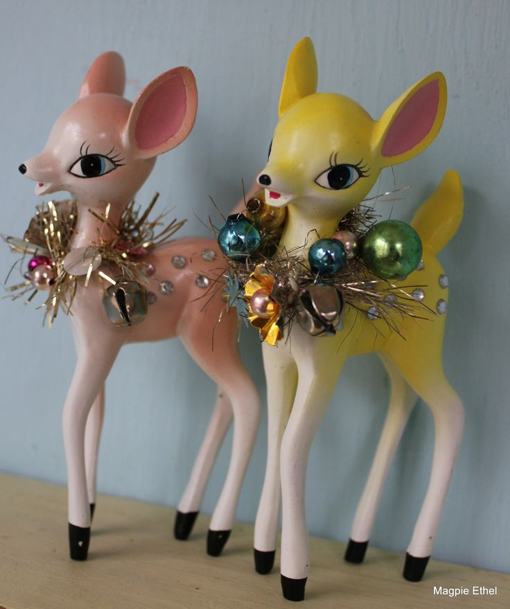 Pastel pair of deer with DIAMONDS! #vintage