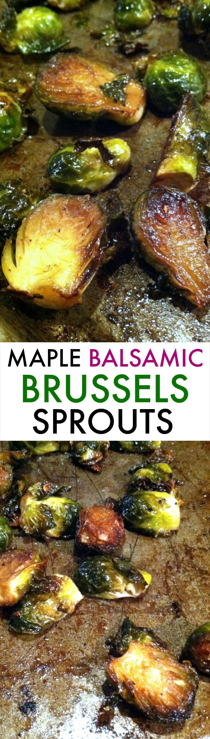 These Maple Balsamic Brussels Sprouts are the perfect holiday side dish! Sweet, salty, caramelized perfection.