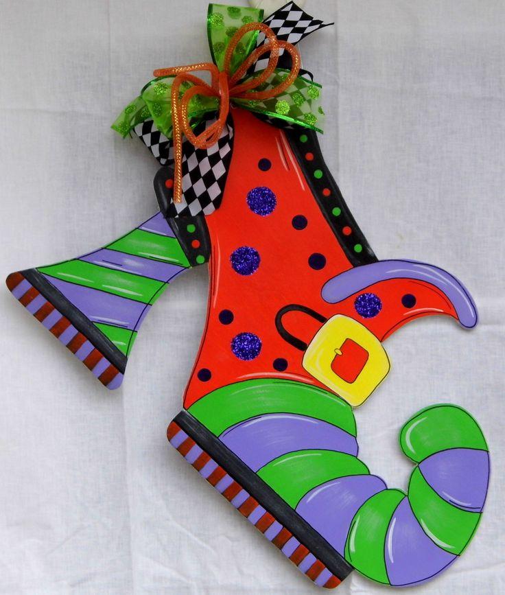 Witch's Shoe Door Hanger, Halloween Door Hanger, Fall Door Hanger, Trick or Treat by HolidaysAreSpecial on Etsy