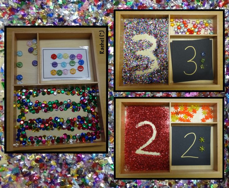"""Glitter flakes, sequins and glitter in the Montessori Tray - from Rachel ("""",)"""