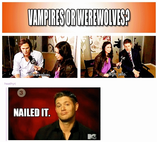 JELLO ~ Jensen Ackles ^_^ he totally nailed it LOL  || Rapid-Fire Interview (click through for video) #Supernatural || Jensen Ackles || Jared Padalecki || interview #Vampires #werewolves