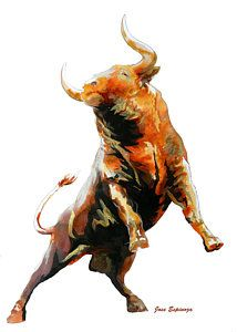 Fight Bull Charge Print by Jose Espinoza