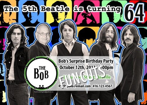 The Beatles Invitation Design, Birthday Invitation, Adult Kids Party