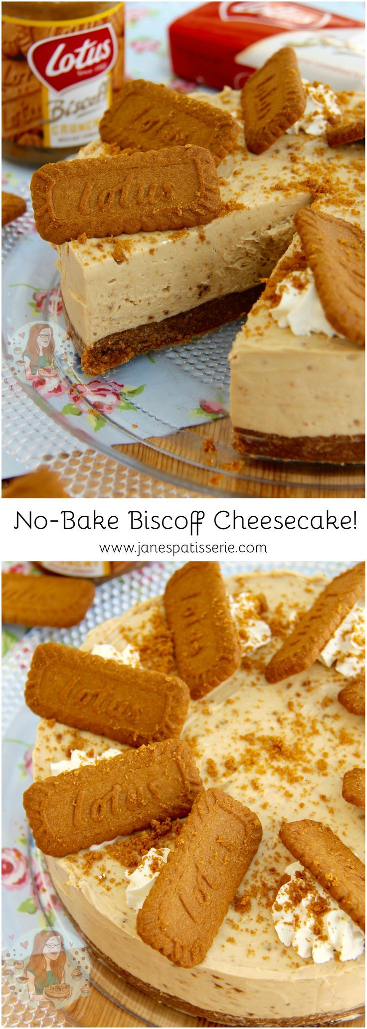 No-Bake Biscoff Cheesecake! ❤️ A delicious No-Bake Biscoff Cookie Butter Cheesecake, sprinkled with more biscuits and whipped cream – Spiced Cookie Heaven.