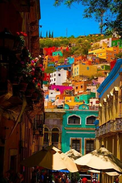 The colourful town of Guanajutao, Mexico
