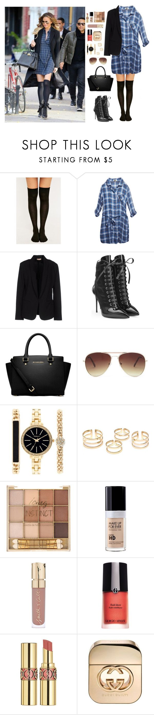 """""""Day 157 (Inspired by Chrissy Teagan)"""" by msmaharaja ❤ liked on Polyvore featuring Wet Seal, Maesta, Giuseppe Zanotti, MICHAEL Michael Kors, Forever 21, Style & Co., MAKE UP FOR EVER, Smith & Cult, Giorgio Armani and Yves Saint Laurent"""