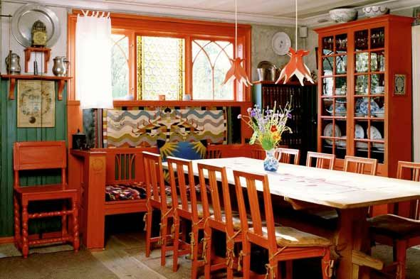 The dining room in Carl Larsson's highly influential Arts and Crafts home. Photo: Vendome Press