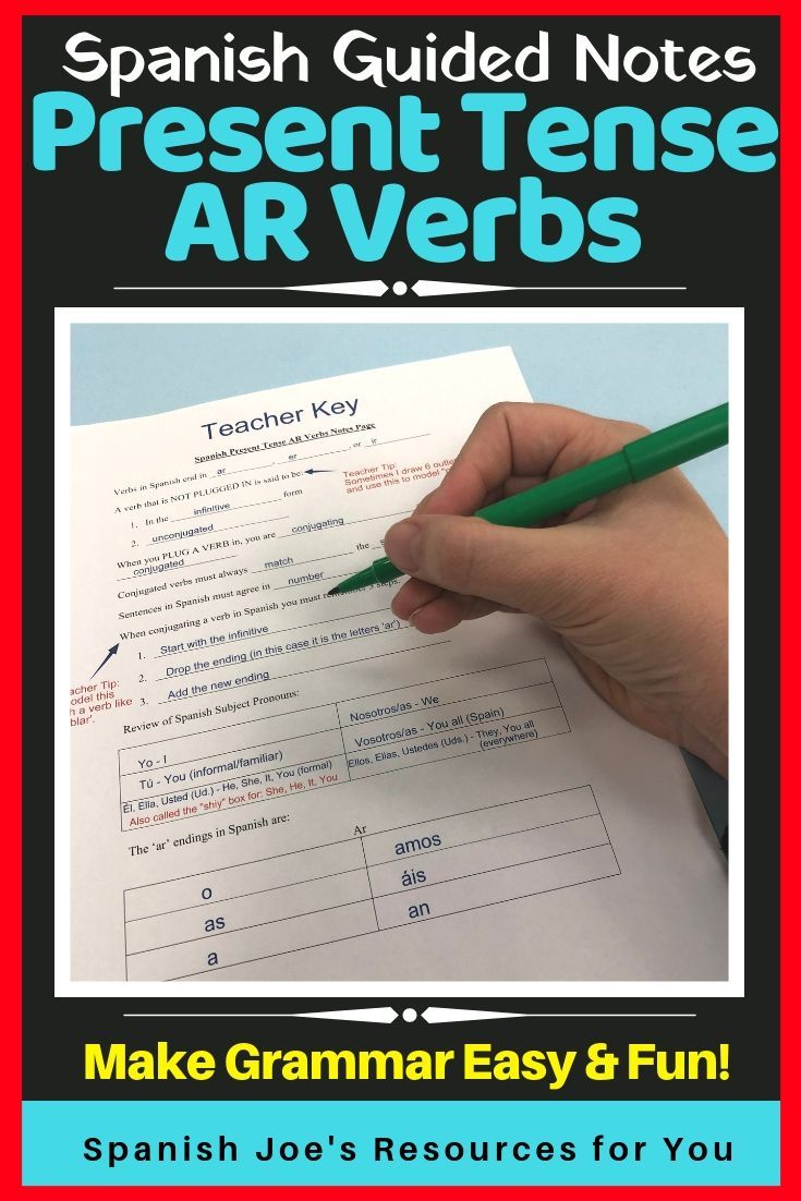 Present Tense Ar Verbs In Spanish Guided Notes And Key Conjugation Practice Guided Notes Reading Comprehension Worksheets [ 1102 x 735 Pixel ]