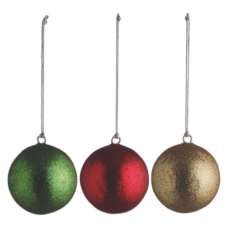 CIRCI Set of 4 glitter baubles green/red