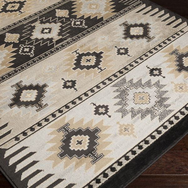 Meticulously Woven Black Grey Southwestern Aztec Nomad