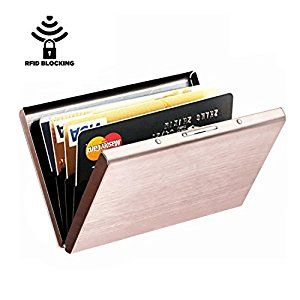 Amazon.com : Best RFID Blocking Wallet for Men and Women, Secure Protection for Travel and Work, for Credit cards, Business Cards, ID Card and Driver License, Top Stainless Steel Metal Slim Wallet N-Rose Gold : Office Products