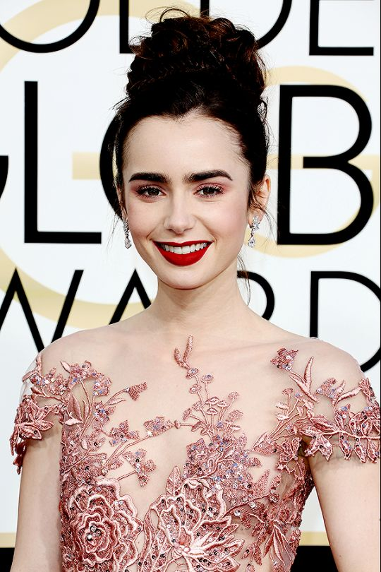 Lily Collins attends the 74th Annual Golden Globe Awards in Beverly Hills, Los Angeles on January 8, 2016