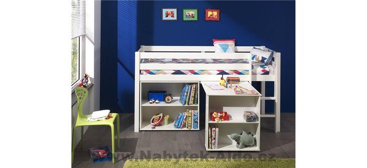 Bílá dětská postel z masivu s úložným prostorem
