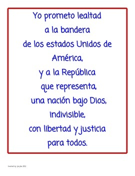 Bewitching image in pledge of allegiance in spanish printable