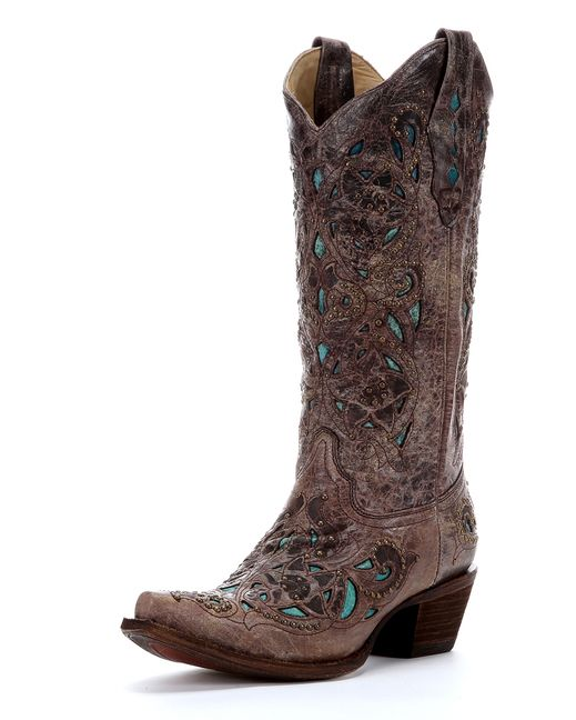 Wearing my Corral Crater Turquoise Inlay & Studs Boots from @countryoutfittr & the compliments are rolling in! #FallYall #spon