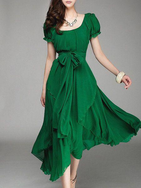 Shop Elegant Dresses Green Asymmetric Resort Holiday