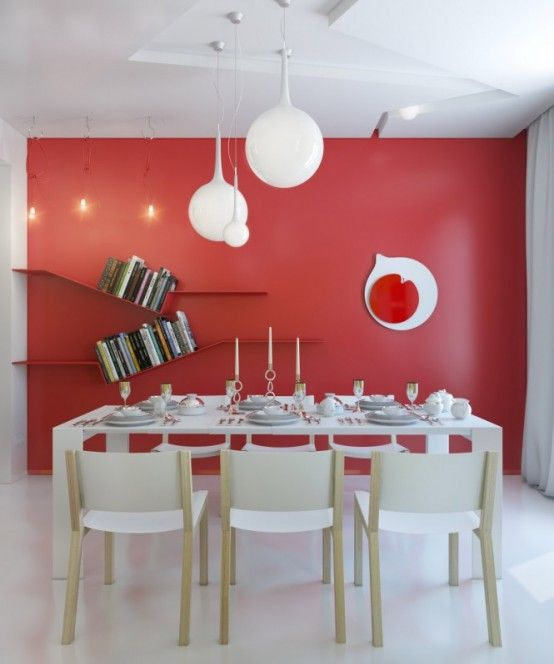 Apartments, Exceptional Design For Small Apartments: Red White Dining Room  Modern Light Fixture