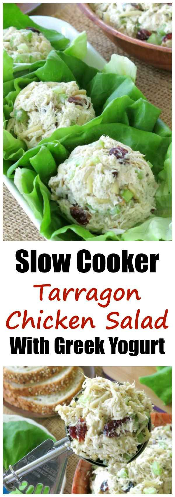 Slow Cooker Tarragon Chicken Salad Recipe with cram Cheese and Greek Yogurt is low-carb and gluten-free. We love it for entertaining and for lunches!