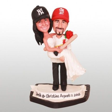Baseball+Wedding+Cake+Topper+cakepins.com