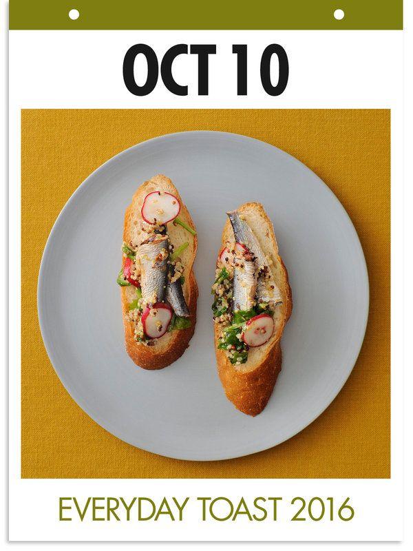10月10日 「サーディントースト」 【使った材料】オイルサーディン、キヌア、ラディッシュ、粒マスタード、オリーブオイルを和える