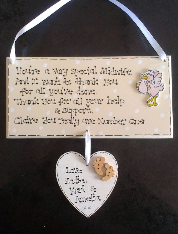Personalised Midwife Doula Hospital New Baby Birth Thank