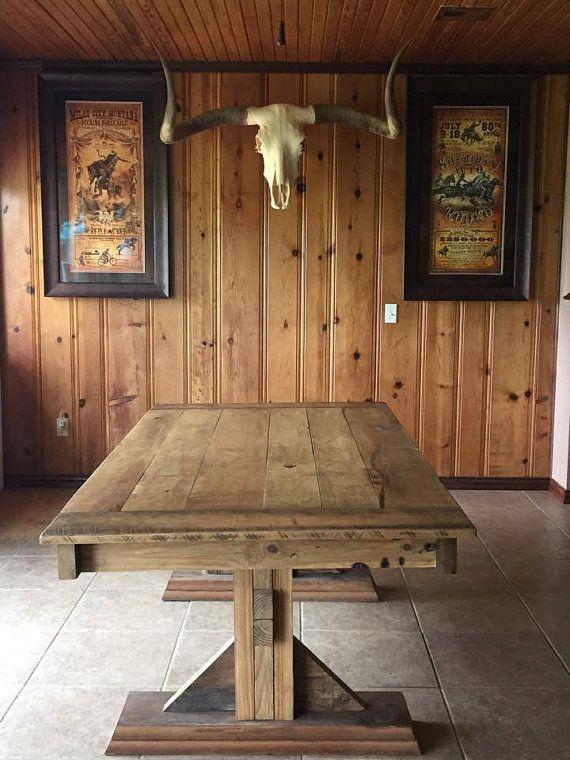 Farmhouse Trestle Table with Reclaimed Barn Wood