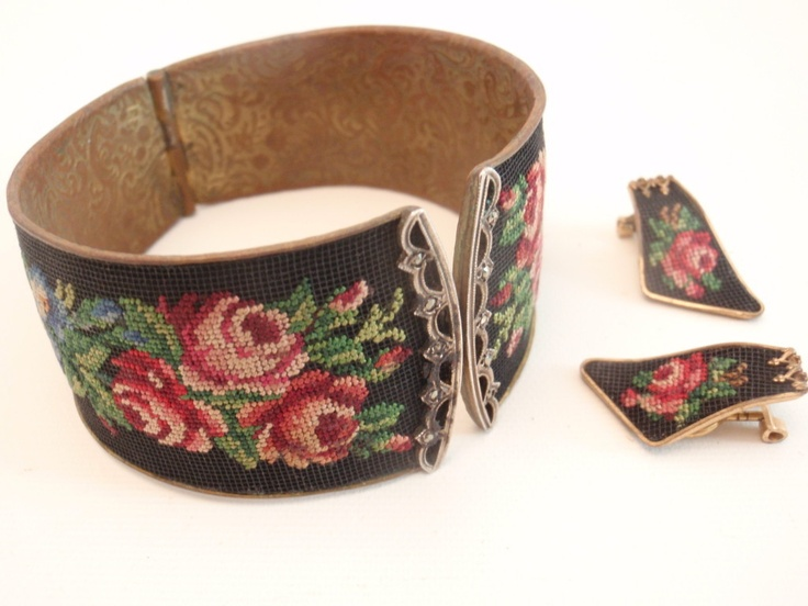 Gorgeous Victorian Antique Needlepoint Roses Cuff Bracelet & Matching Earrings | eBay