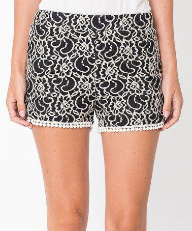 Love this Black Floral Pom-Pom Shorts - Women on #zulily! #zulilyfinds