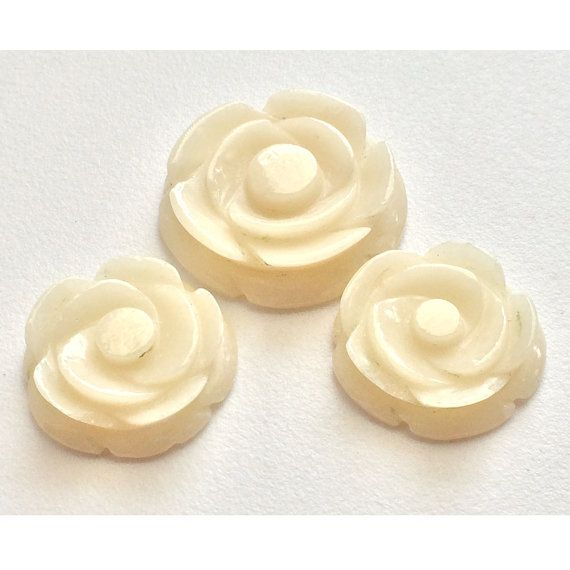 Ivory Jade Roses Hand Carving Filigree Finding by gemsforjewels