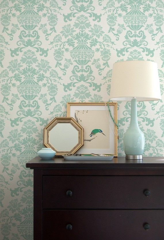 Wall Stencil Encantada Damask Allover Stencil for Wall Decor and More - consider for guest room