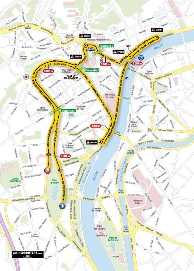 Tour de France Prologue, #Saturday 2012-06-30: Route Map | #Start: Liège #Finish: Liège | Individual Time Trial | 6.4km