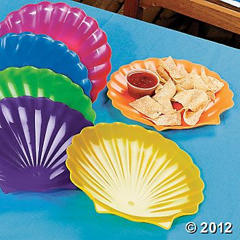 12 Shell Plates, Party Plates, Tableware, Party Themes & Events - Oriental Trading