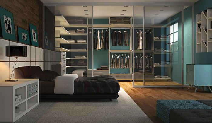 Closet no quarto masculino Suite Masculino Pinterest  ~ Quarto Solteiro Masculino