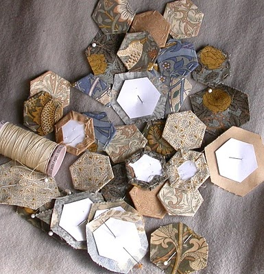 Hexagons from a Morris Tapestry and Moonsilk Stitches