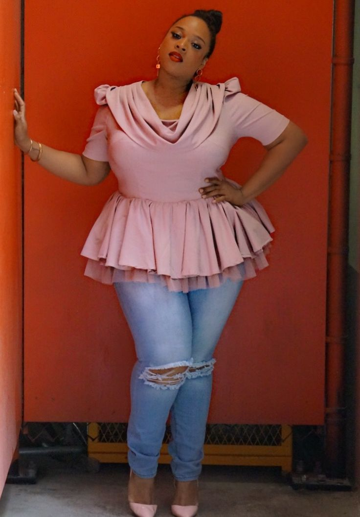 Plus Size Satin tulle peplum with cowlneck Top