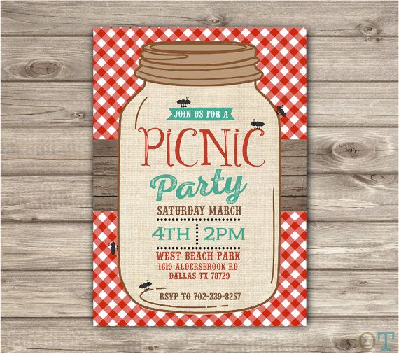 Picnic Park Party Mason Jar Beach Bbq Family reunion Birthday invitations gingham ants Burlap Rustic Wood Summer Shabby Chic boho picnic