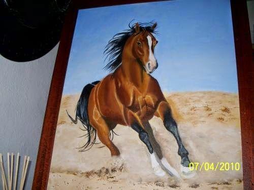 arte di dipingere: quadri a olio - cavallo e micetti