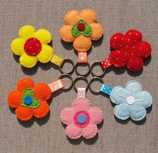 Felt Keychains (Vilten Sleutelhangers), set 4  by Made by BeaG, via Flickr
