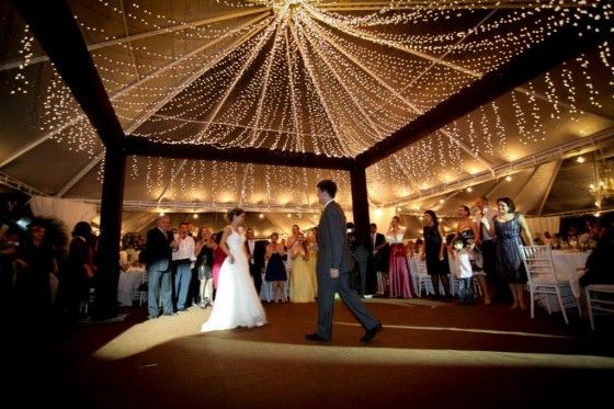 love the roof lighting and the beams surrounding the dance floor.
