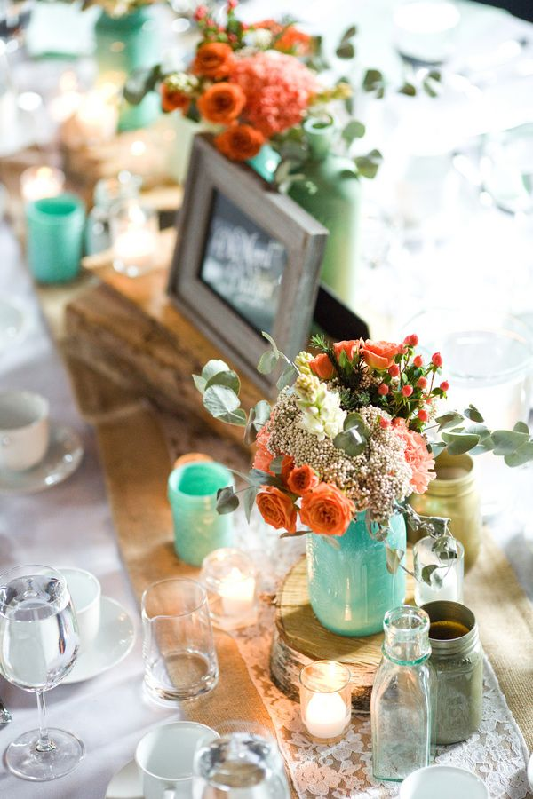 aqua and orange tablescape // photo by Jennifer Boyle Photography // http://ruffledblog.com/sentimental-brooklyn-wedding