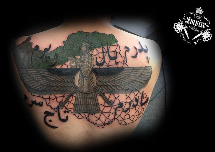More on this #BackPiece #Farvahar on the #Iran #Map with its #Mosaics #Tiles inspired background which will be filled with #Iranian #Flag following up along side #Persian #Farsi #Script #OldEmpireTattoo #InkLife #Coils4Life #LittleHulton