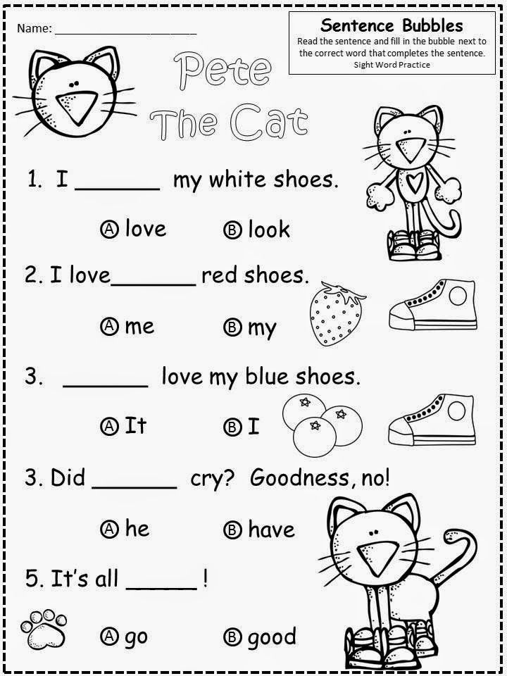Free Pete The Cat (by James Dean and Eric Litwin) fill in the blank, multiple choice practice. Kindergarten students can painlessly prepare for  the SAT10 (or similar end of year multiple choice tests). For Educational Purposes Only....Not For Profit. Enjoy! Regina Davis aka Queen Chaos at Fairy Tales And Fiction By 2.