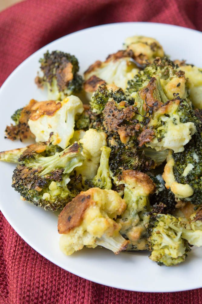 Oven Fried Parmesan Broccoli & Cauliflower Florets -Low Carb, Keto, Gluten Free, THM, Atkins