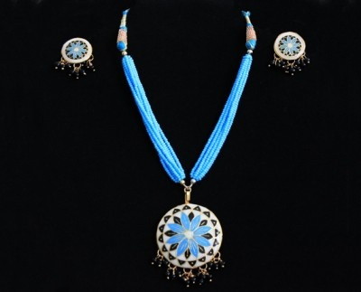 Blue beads #full #moon and #meenakari necklace set with matching #earrings